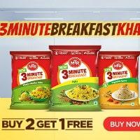 MTR Foods: Buy 2 Get 1 FREE on 3 Minute Breakfasts !