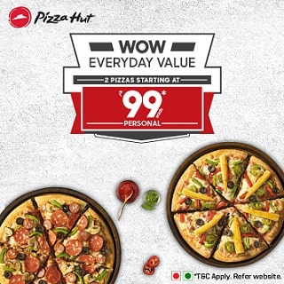 From ₹ 99 each on 2 WOW Everyday Personal Pizza's