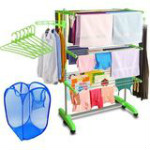 60% OFF on Kawachi Mild Steel with ABS Plastic Laundry Hanger Cloth Drying Stand Orders